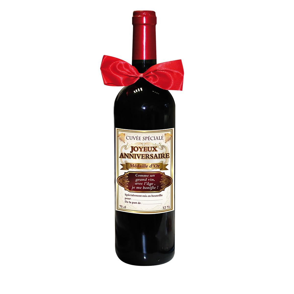 une bouteille de vin rouge humoristique pour anniversaire. Black Bedroom Furniture Sets. Home Design Ideas