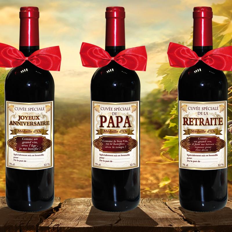 une bouteille de vin rouge humoristique pour anniversaire sur cadeaux et anniversaire. Black Bedroom Furniture Sets. Home Design Ideas