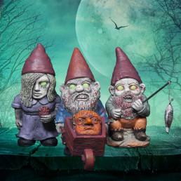 Petits nains de jardin zombies en terre cuite lot de 3 sur cadeaux et anniversaire - Nain de jardin en terre cuite ...
