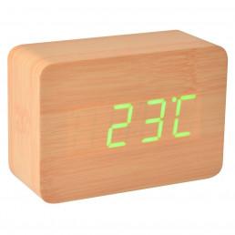 Réveil - Thermomètre Led en Bois