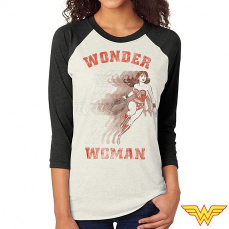 T-Shirt Wonder Woman Vintage Manches 3/4