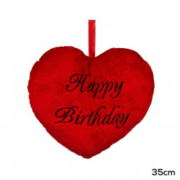 Coussin Coeur Rouge Happy Birthday