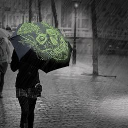 Parapluie Tête de Mort Phosphorescente