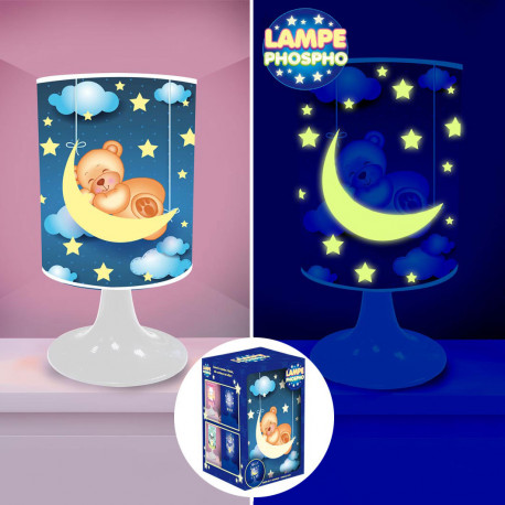 Lampe de Chevet Nounours Lune Phosphorescente