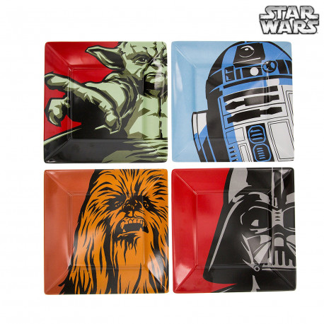 Assiettes Personnages Star Wars en Mélamine - Lot de 4