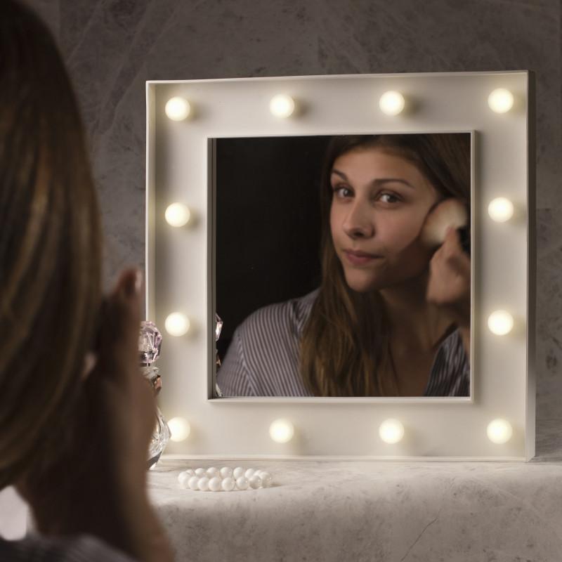 Miroir de maquillage fa on hollywood avec 12 boules for Miroir youtube