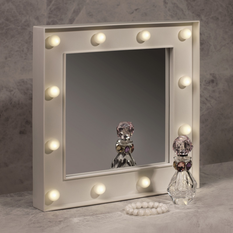 miroir de maquillage fa on hollywood avec 12 boules lumineuses sur cadeaux et anniversaire. Black Bedroom Furniture Sets. Home Design Ideas