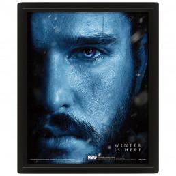 Cadre Game of Thrones Effet Animé 3D Jon Snow vs Marcheur Blanc
