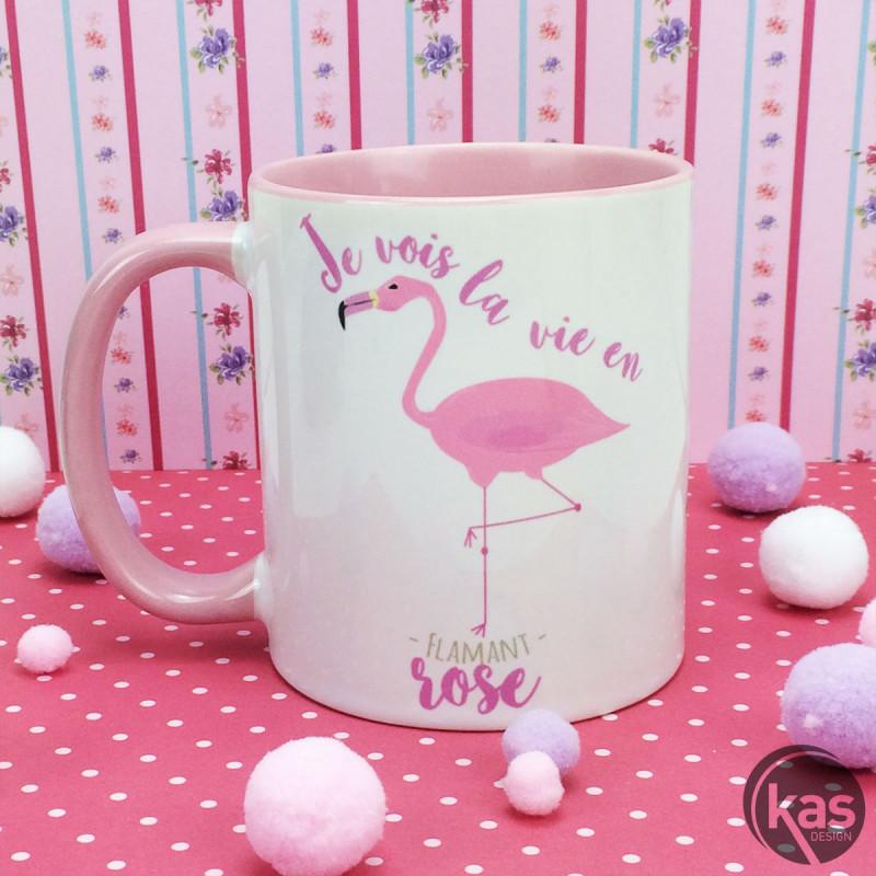 mug flamant rose en c ramique je vois la vie en flamant rose sur cadeaux et anniversaire. Black Bedroom Furniture Sets. Home Design Ideas