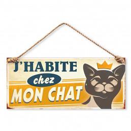 Plaque Métallique J'habite chez mon Chat