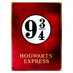 Grande Plaque Métallique Harry Potter Voie Express 9 3/4 Relief