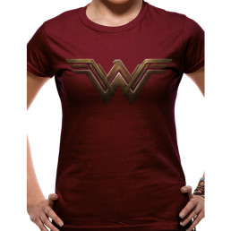 T-Shirt Wonder Woman Femme Bordeaux
