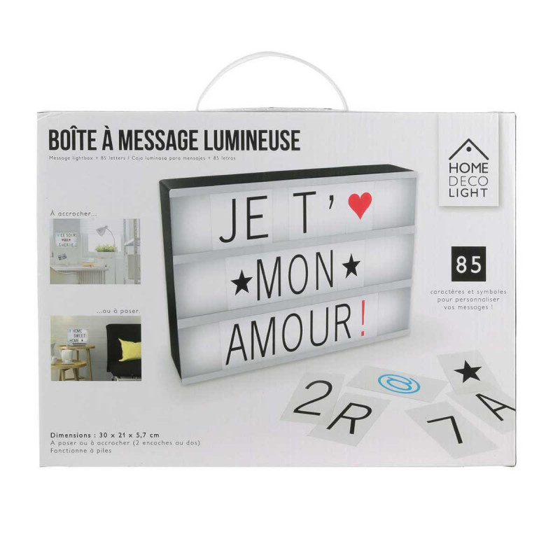 tableau d co lumineux pour crire un message sur cadeaux. Black Bedroom Furniture Sets. Home Design Ideas