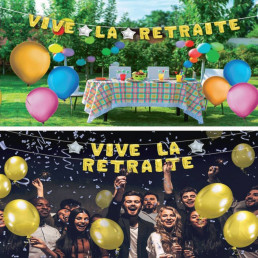 Guirlande de Ballons Géante Vive la Retraite 6 M
