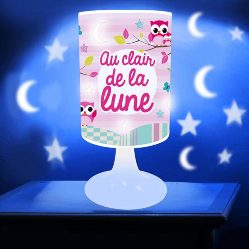 Lampe à Poser Pour Fille Avec Motifs Chouette Et Ciel étoilé