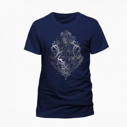T-Shirt Harry Potter Bleu Blason Poudlard Argenté