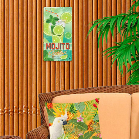Plaque Métallique Mojito Cocktail