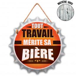 Plaque en Bois Capsule Tout Travail mérite sa Bière