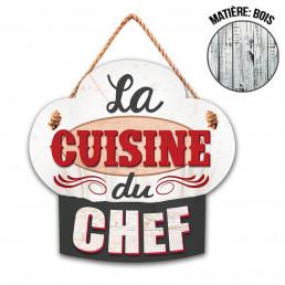 Plaque en Bois Toque La Cuisine du Chef