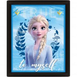 Cadre Reine des Neiges 2 Effet Animé 3D - Elsa & Anna