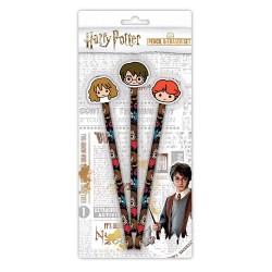 Set 3 Crayons Harry Potter Chibi avec Gommes
