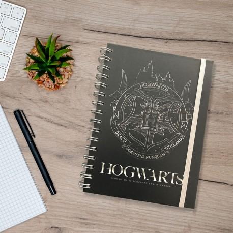 Carnet de Notes Harry Potter à Spirales Poudlard Bleu Argenté