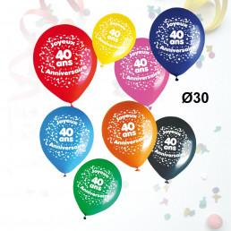 Sachet de 8 Ballons Âge Anniversaire