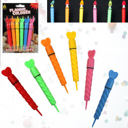 Lot de 6 Bougies Flammes Colorées
