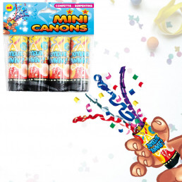 Lot de 4 Mini Canons à Confettis et Serpentins