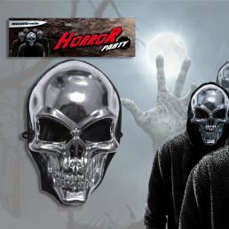 Masque Tête de Mort Argentée avec Capuche