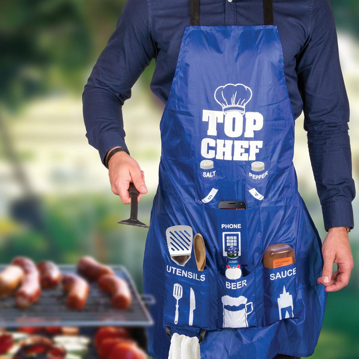 Tablier de cuisine pour homme top chef avec poches sur - Tablier cuisine pour homme ...