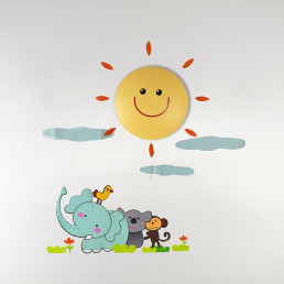 Lampe et Stickers Soleil et Animaux